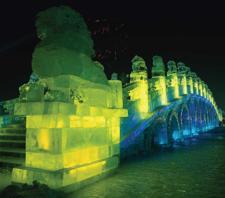 A bridge of ice at the Snow and Ice Festival in Harbin, China. Photo credit: China National Tourist Office