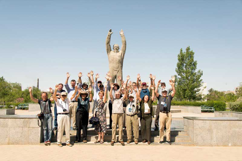Travelers celebrate at Yuri Gagarin's statue in Baikonur, Kazakhstan Photo credit: Christopher Prentiss Michel
