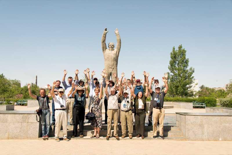 Travelers celebrate at Yuri Gagarin's statue in Baikonur, Kazakhstan Photo credit: Christopher Prentiss Michel