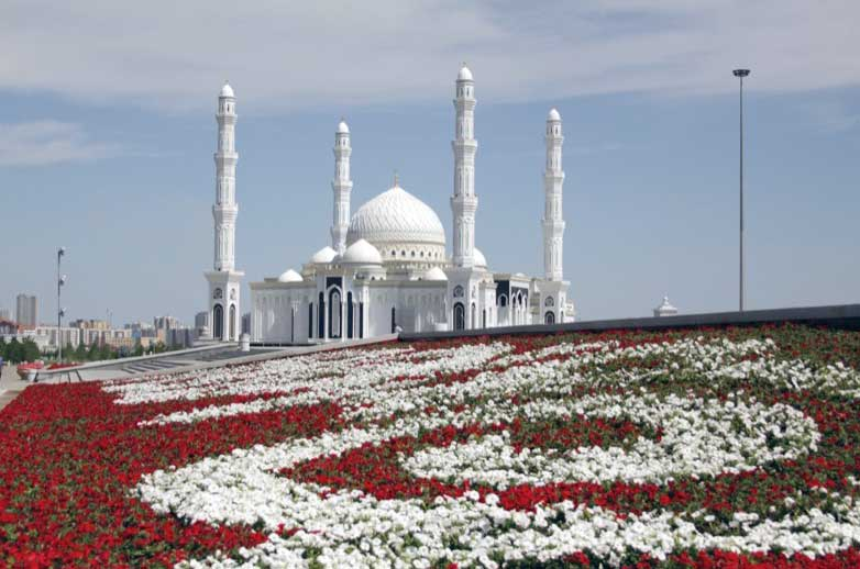 The mammoth white Khazret Sultan Mosque in Kazakhstan's modern capital, Nur-Sultan. Photo credit: Igor Strebkov