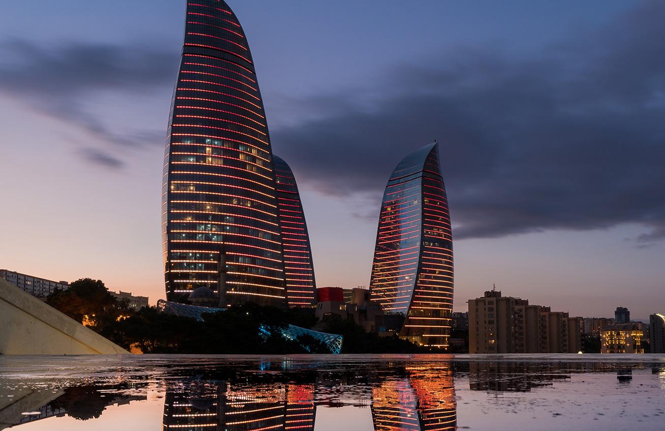 View of Azerbaijan's Flame Towers in Baku. Photo credit: Jered Gorman
