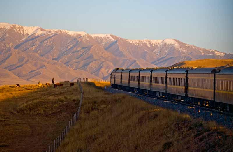 The Golden Eagle private train rolls through Central Asia
