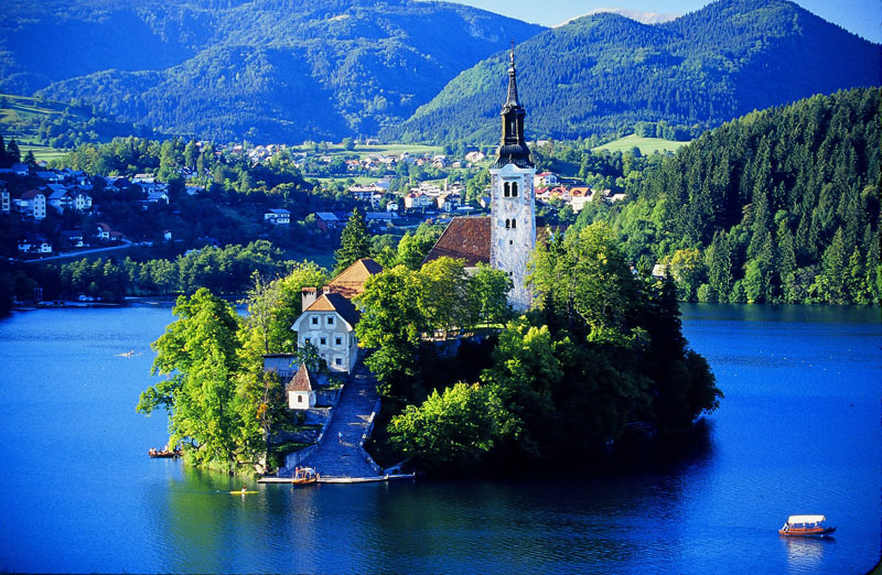Lake Bled, located in the Julian Alps in northwestern Slovenia. Photo credit: Peter Guttman
