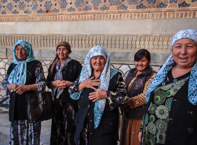 Uzbek ladies welcoming travelers. Photo credit: Lindsay Fincher