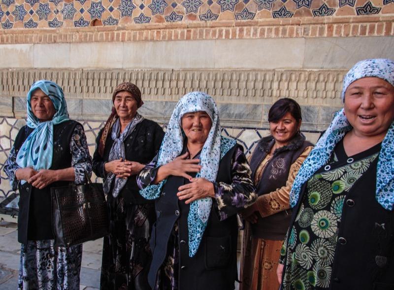 Uzbek ladies welcoming travelers. Photo credit: Lindsay Fincher