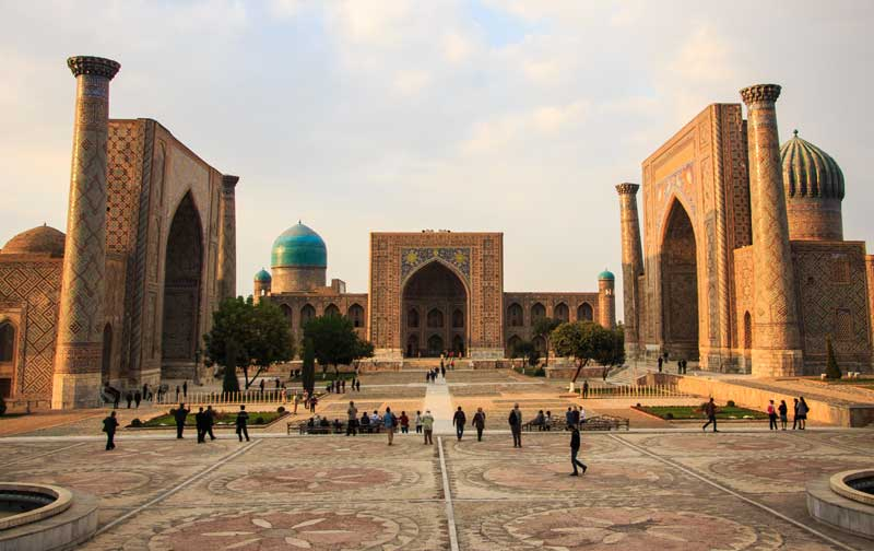 Three emblematic madrassahs frame Registan Square in Samarkand, Uzbekistan. Photo credit: Lindsay Fincher