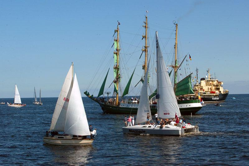 Boats sailing on Latvian waters.