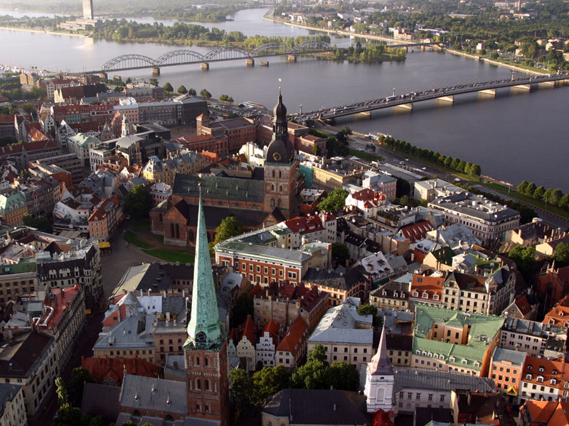 An aerial view of Riga's Old Town Square. Photo credit: Latvia Tourism