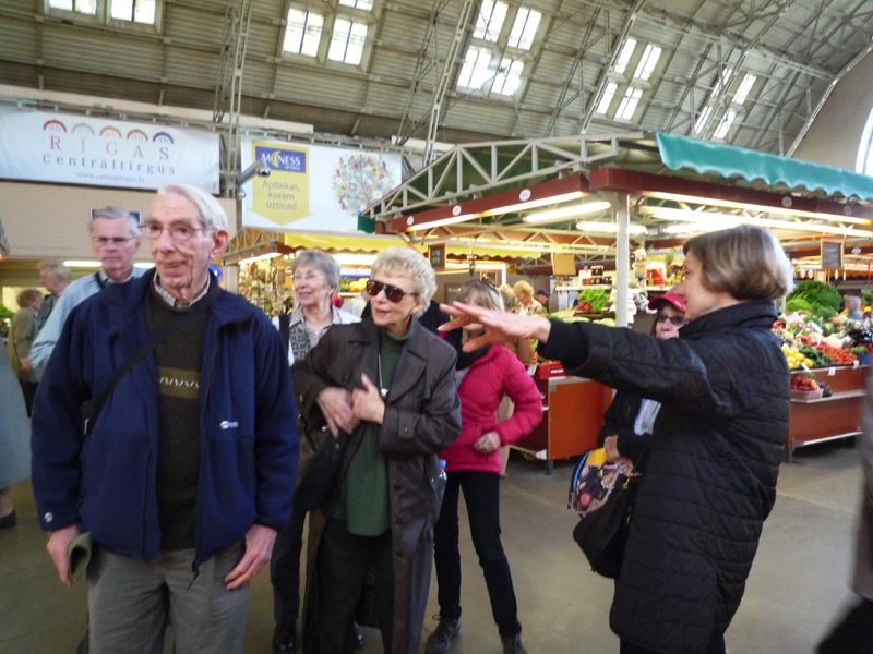 MIR travelers check out the goods at the Central Market. Photo credit: Jurate Terleckaite
