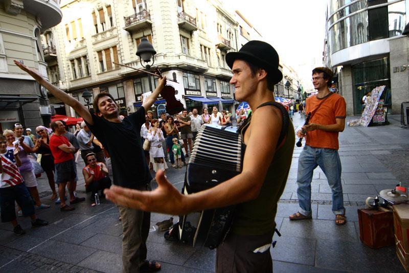 Street musicians on Belgrade's Knez Mihailova. Photo credit: Dragan Bosnic, Branko Jovanovic, Srdjan Veljovic, NTOS archive