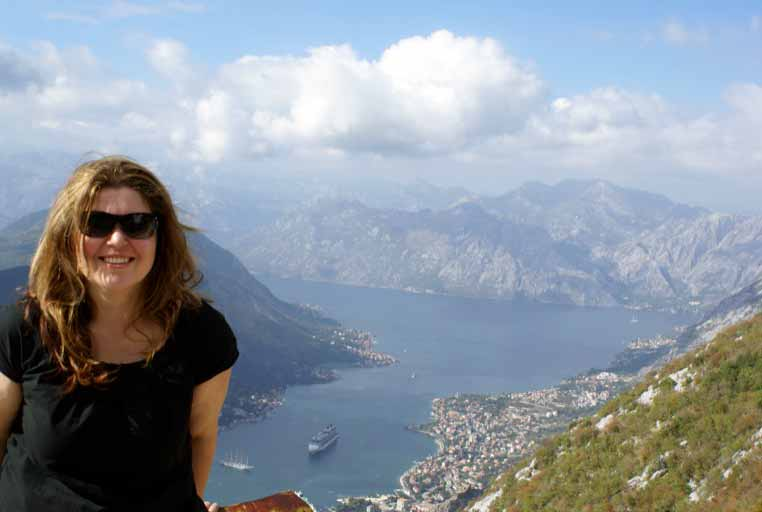 Joanna on her visit to view Kotor Bay, Montenegro.  Photo credit: Joanna Millick