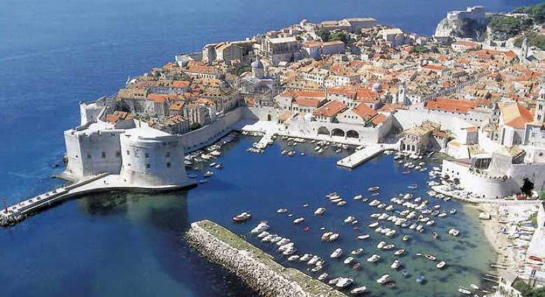 Bird's-eye view of Dubrovnik's Old Town and massive stone walls. Photo credit: Croatian Tourist Board