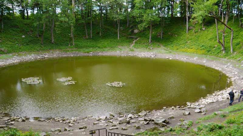 Lake Kaali filled in a hole left by small meteorite on Saarema Island.  Photo credit: Martin Klimenta