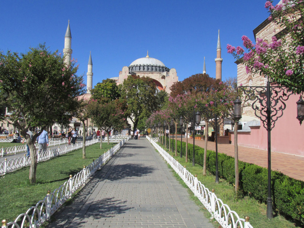 A path in Istanbul's Sultanahmet Park leads to the Byzantine and Ottoman architectural wonder, Hagia Sophia. Photo credit: Steven Orvis