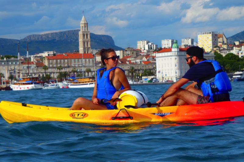 A pair of sea kayakers cruise the Podstrana Bay in Split, Croatia. Photo credit: Iris Adventures