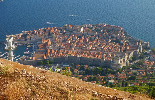 Dubrovnik's Old Town from 1,350-foot Srđ Hill, site of the city's deadliest battle in the 1990s siege. Photo credit: Chris Lira
