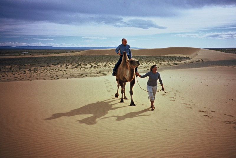 Off for a camel ride in the Mongolian desert. Photo credit: Michel Behar