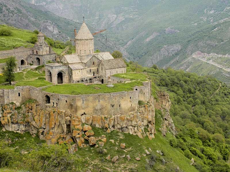 Ninth century Tatev Monastery in Armenia has jaw-dropping mountain views from its steep canyon perch. Photo credit: Ana Filonov