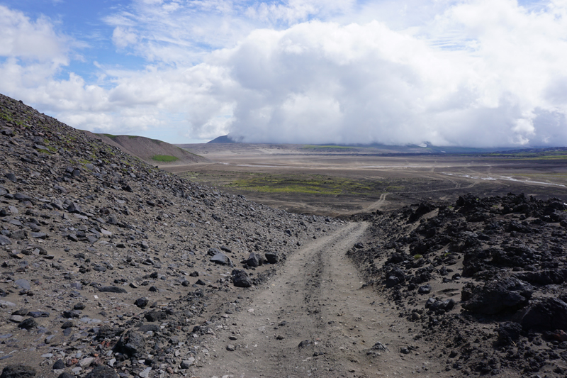 Driving through pumice and lava rock to Mutnovsky Volcano. Photo credit: Jake Smith