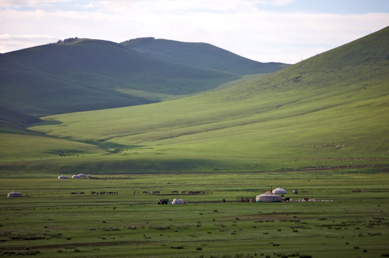 Gers dot the hillside in Mongolia. Photo credit: Helge Pedersen
