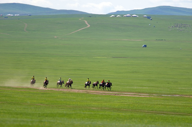 Horse racing at a local Naadam Festival. Photo credit: Helge Pedersen