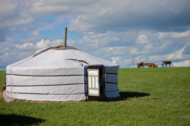 A ger set on the beautiful Mongolian steppe. Photo credit: Helge Pedersen