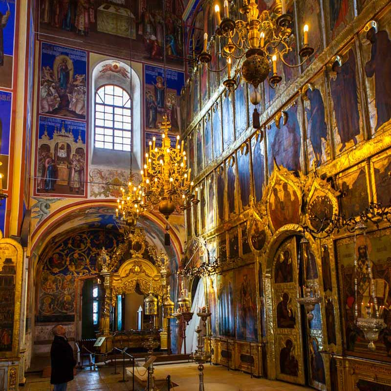 Inside the masterful Cathedral of the Transfiguration of the Savior at the Suzdal monastery. Photo credit: Jonathan Irish