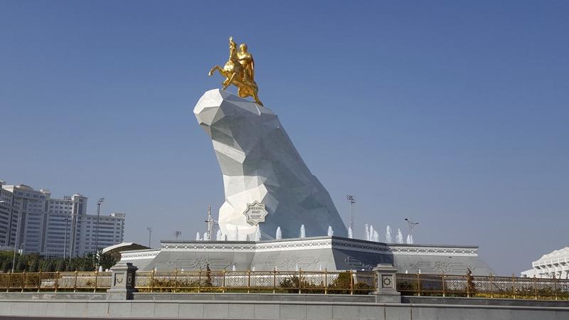 Ashgabat's Golden Horse Monument features current Turkmen president Gurbanguly Berdimuhammedov riding an Akhal-Teke, Turkmenistan's national horse. Photo credit: Kevin Testa