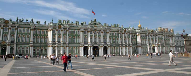 Approaching the majestic Hermitage from Palace Square, St. Petersburg, Russia. Photo credit: James Beers