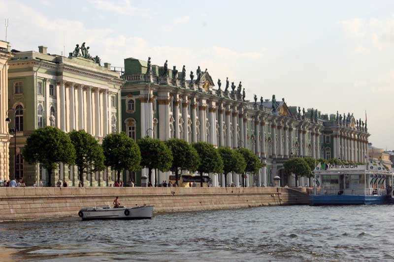 A view of the promenade and the Hermitage Theater from the Neva River. Photo credit: James Beers