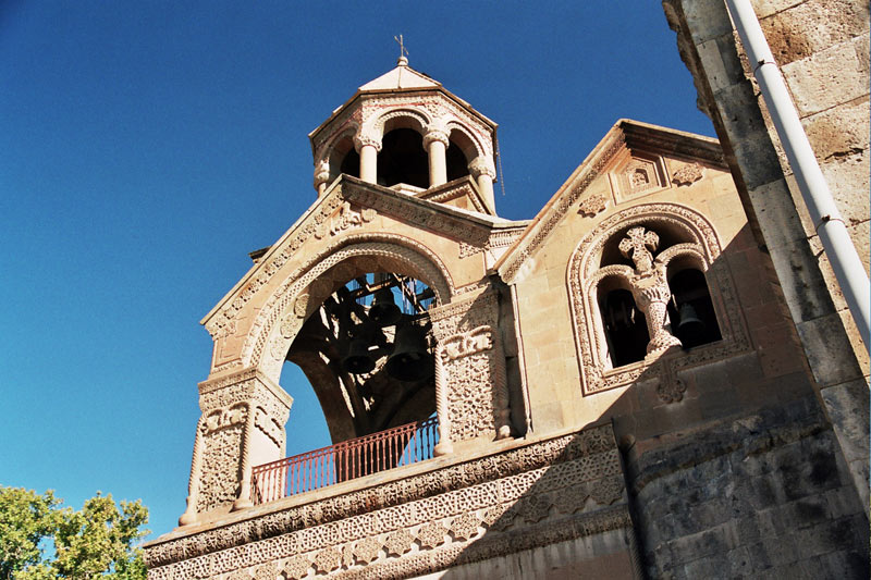 The intricately carved bell tower of Echmiadzin Cathedral (Armenia). Photo credit: Martin Klimenta