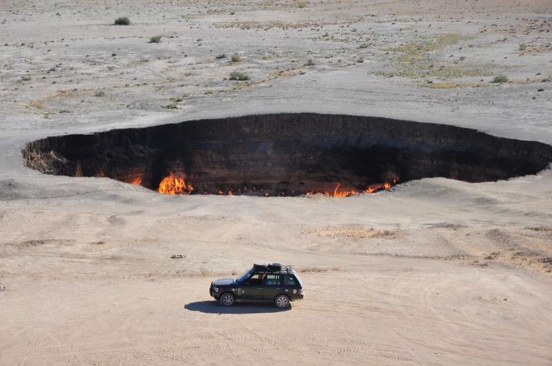 "Turkmenistan's Darvaza Gas Crater, known to locals as the ""Door to Hell."" Photo credit: Russ Cmolik & Ellen Cmolik"