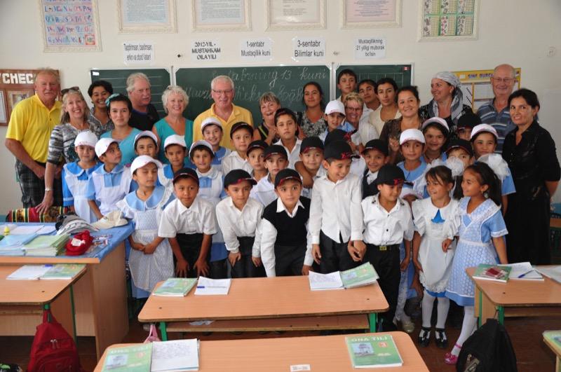 Meeting with a classroom of schoolchildren in Bukhara, Uzbekistan. Photo credit: Russ Cmolik & Ellen Cmolik