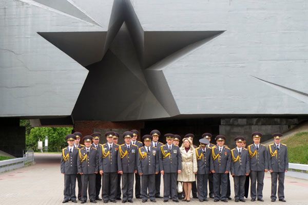 A ceremonial line-up of army and militia officers at Brest Fortress. Photo credit: Bill Adams