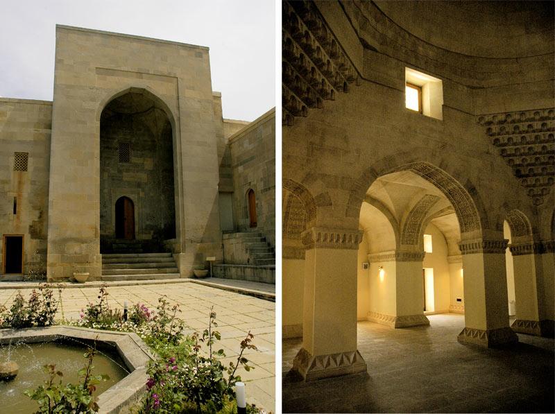 Outside and inside the 15th century Palace of the Shirvanshahs (Baku, Azerbaijan.) Photo credit: Ana Filonov