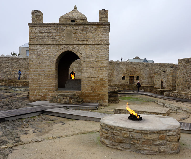 On the way to the Absheron Peninsula, I visited the Ateshgah Fire Temple. Photo credit: Jake Smith