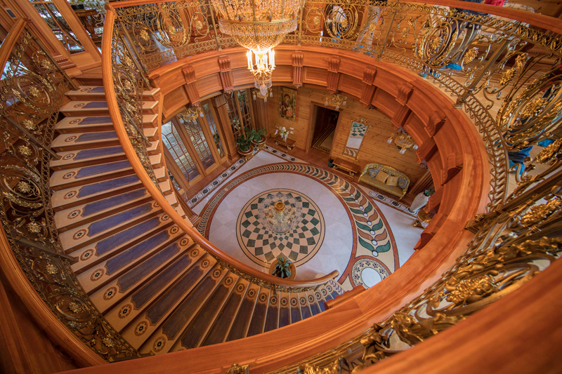 The wood paneling alone on the mansion staircases cost around $200,000 USD. Photo credit: Gary Krosin