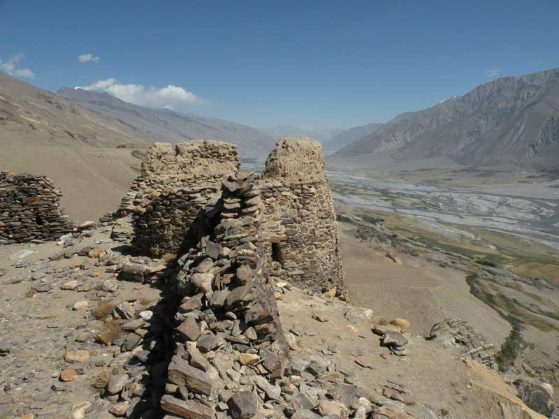 Yamchun Fort above the Wakhan Corridor where two countries, Tajikistan and Afghanistan, are visible, divided by the Pamir River. Photo credit: Jake Smith