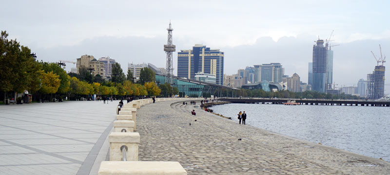 Baku Boulevard, the 100-year-old seafront promenade, is a modern national park. Photo credit: Jake Smith