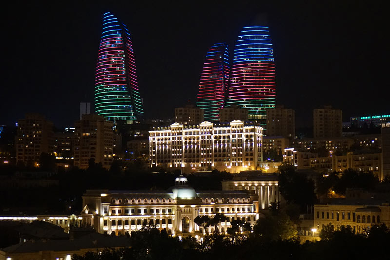 The Flame Towers put on a colorful show at night (Baku, Azerbaijan.) Photo credit: Jake smith
