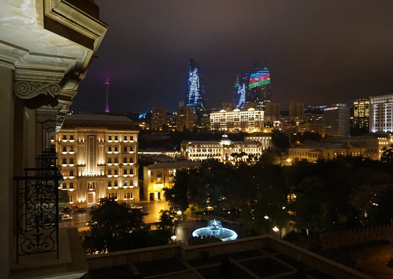 A view of the Flame Towers evening light display from the window of my hotel room. Photo credit: Jake Smith