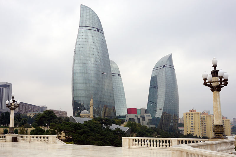 The sleek lines of the modern Flame Towers (Baku, Azerbaijan.) Photo credit: Jake Smith