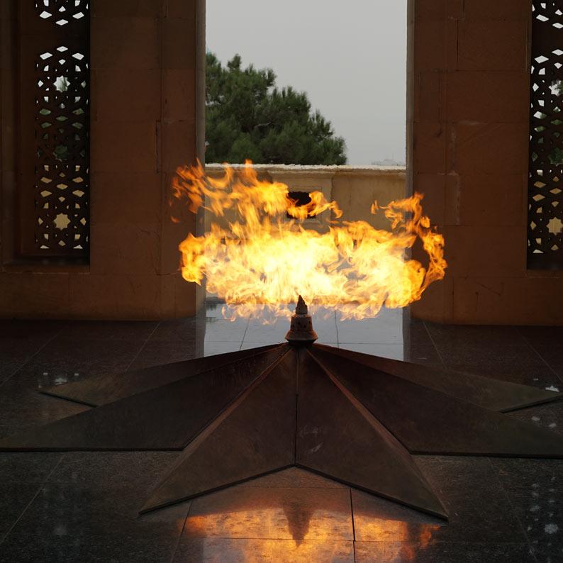 Eternal Flame memorial at Martyrs' Lane (Baku, Azerbaijan.) Photo credit: Jake Smith