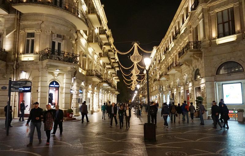 A festive summer night stroll through Baku's Old Town. Photo credit: Jake Smith