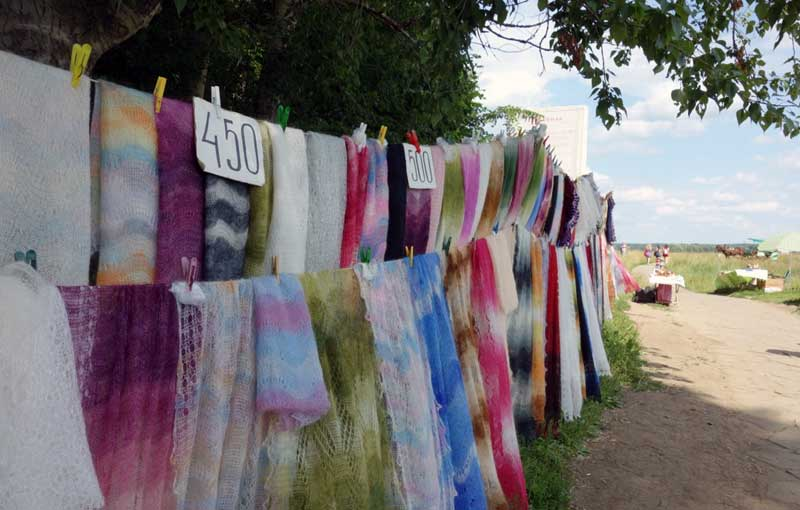 A roadside stand selling shawls handmade by local babushkas. Photo credit: John Seckel