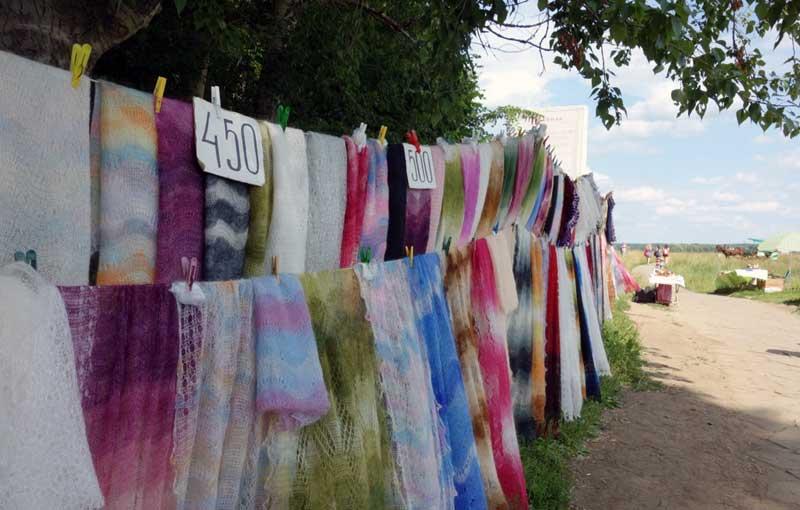A roadside stand selling shawls handmade by local babushkas. Photo credit: John Seckel