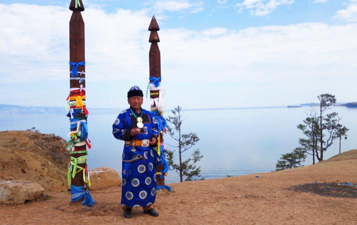 A shaman performs a ritual on Lake Baikal's Olkhon Island, the heart of shamanism in Siberia. Photo credit: Vladimir Kvashnin