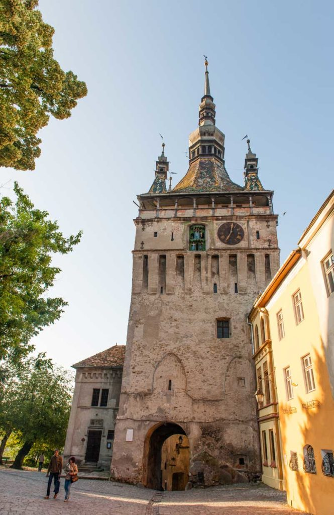 The Clock Tower shows its age on a perfect sunny day in Sighisoara. Photo: David W. Allen