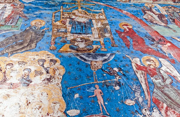 Sinners and righteous await their last judgment in this fresco at Humor Monastery. Photo credit: David W. Allen