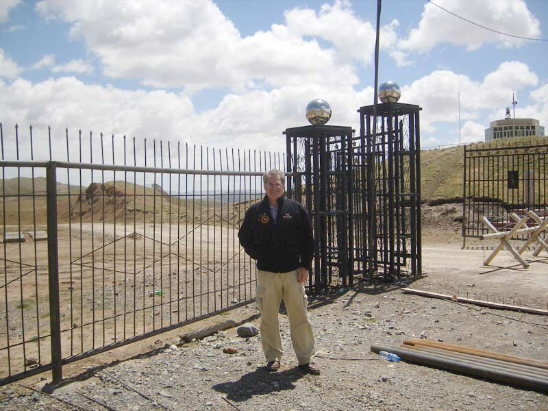 Doug at the border crossing between Western China and Kyrgyzstan along Torugart Pass
